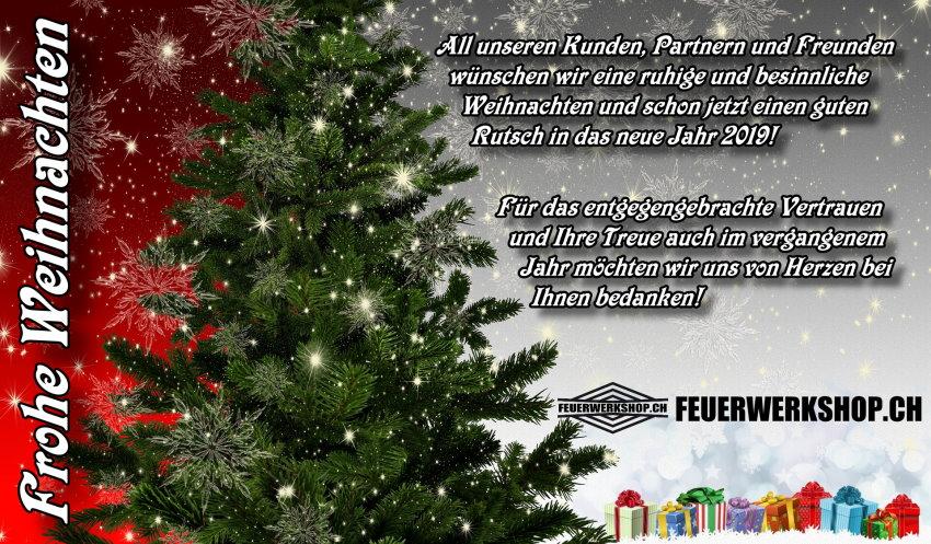 FEUERWERKSHOP.CH wünscht eine friedvolle und besinnliche Weihnacht!