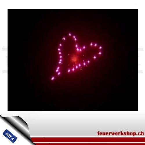 ★ Herzflimmern Kugelbombe - Kal. 100mm ★  Rotes Herz mit Verwandlung zu einem Herz aus Silberflimmersternen