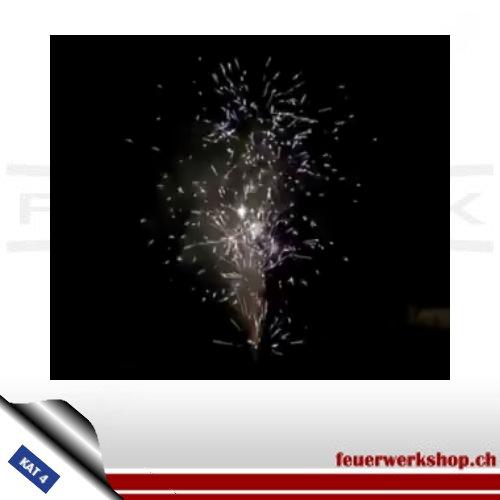 Brenndauer ca. 60 s.  Vulkanfontäne mit silbernen Titanium Popping Flowers, raucharm abbrennend mit ca. 7m Steighöhe.  Maße: 325mm (H) x Ø118 mm