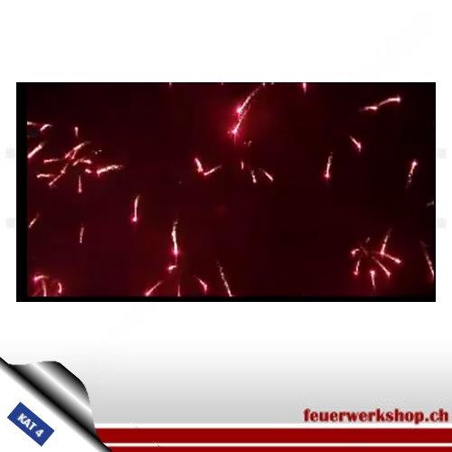 ★ Crossette Rubin Kugelbombe - Kal. 100mm ★  Goldflimmerschweifkometen mit roter Spitze zerlegen zur Crossette