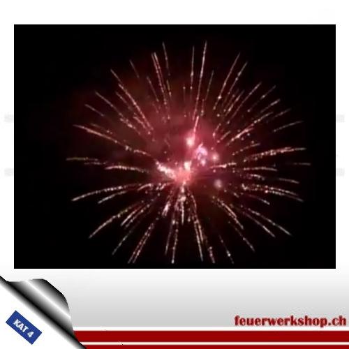 ★ Astoria Kugelbombe - Kal. 125 mm ★  Krone aus filigranen Goldflimmersternen mit Zentrum aus Rotflimmer
