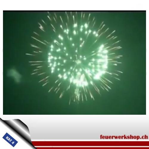 ★ Kugel,-Königsbombe - Kal. 150mm ★  Königsbombe (4-Schlag Bombe mit Verwandlung: Brokatfeuertöpfe im Aufstieg dann Goldchrysantheme zu blauen Spitzen und grüner Päonie im Zentrum)
