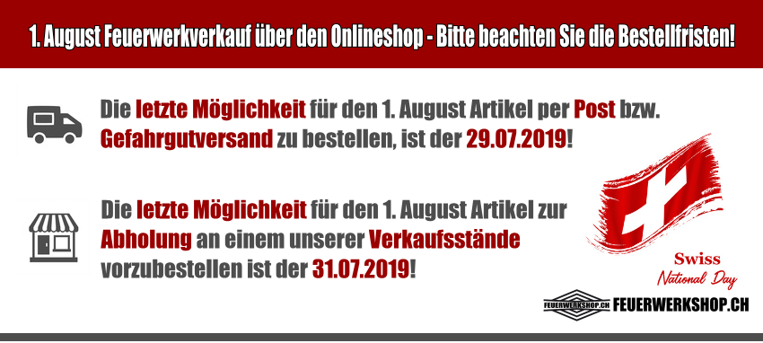 Bestellfristen für Vorbestellungen Feuerwerk zum 1. August 2019
