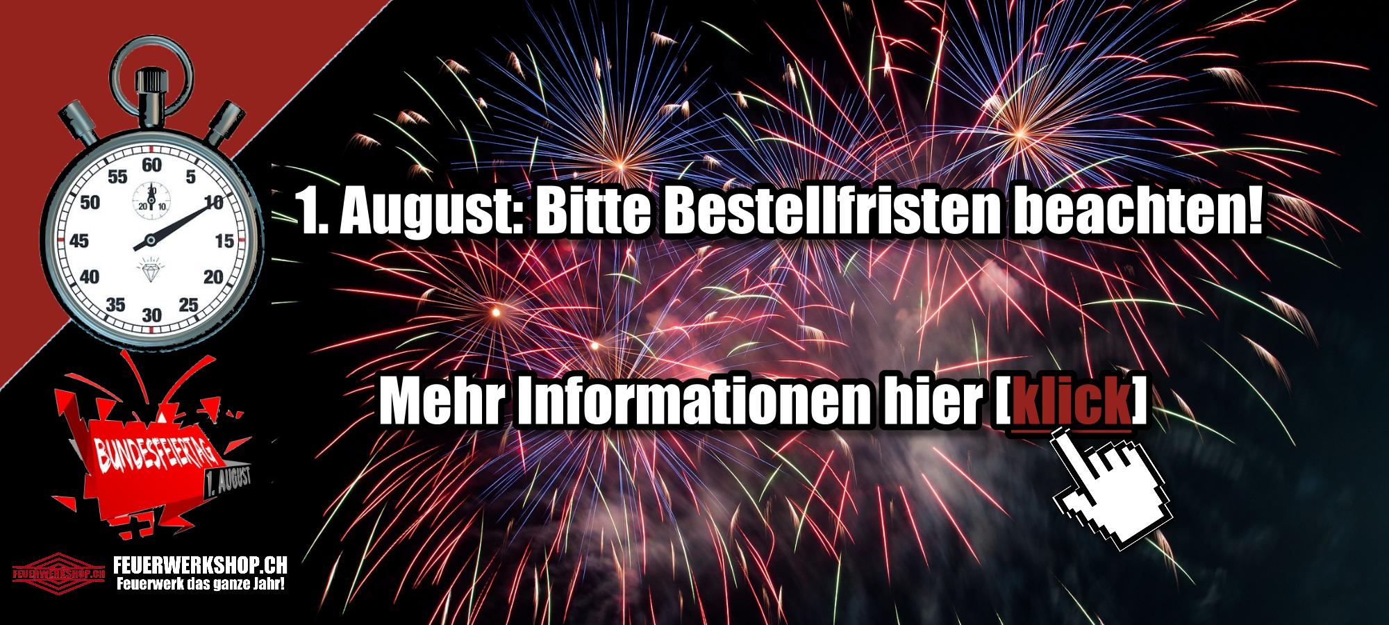 1. August Feuerwerkverkauf - Bestellfristen beachten!
