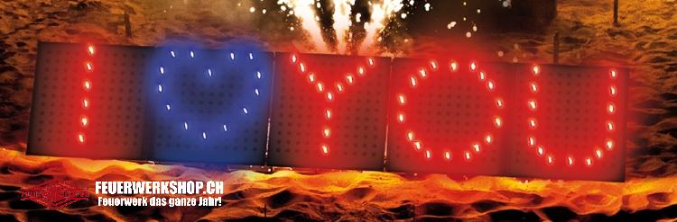 Flammende Zahlen und Herzen - Lichterbilder