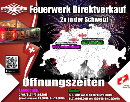 Unsere 2 Feuerwerk Verkaufsstände zum 1. August