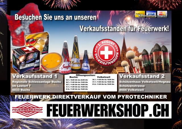 Feuerwerks-Direktverkauf in Buchs und Volketswil!